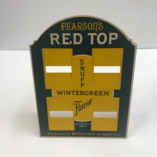 Pearson's Red Top snuff display from the front
