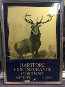 Old HARTFORD FIRE INSURANCE Company SIGN, Deer