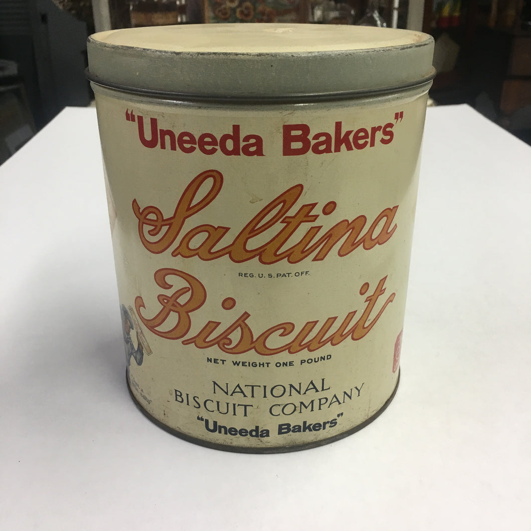 "Old ""Uneeda Bakers"" Saltina BISCUIT 1lb Tin, Vintage"