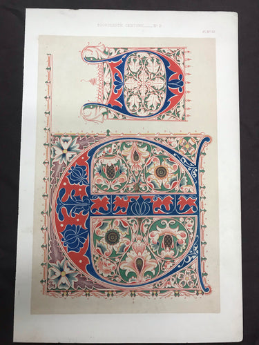 Beautiful Chromolithograph Book Plate Illuminated Letters About 150 Years Old - Plate Number 55