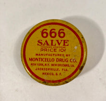 Load image into Gallery viewer, 666 SALVE Tin, Monticello Drug Co. || New York, New Orleans, Jacksonville, Mexico