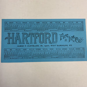 HARTFORD FIRE Insurance co. PROMOTIONAL BLOTTER and CALENDAR || 1894