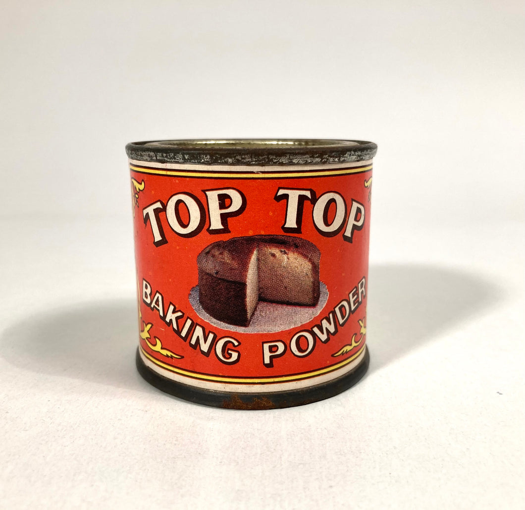 Antique 1920's-1930's 2 oz Top Top Baking Powder Can FULL, Vintage Cooking