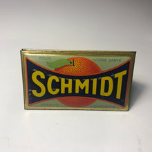 Load image into Gallery viewer, Vintage, French Schmidt Orange Advertising Tin