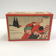 "Load image into Gallery viewer, Art Deco Era ""Merry Xmas"" BISCUIT BOX with String Handle 