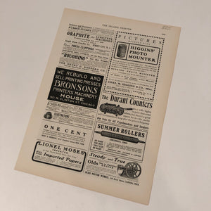 COTRELL ADVERTISING PRINTING PRESS PAPER