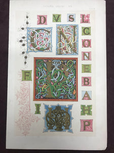 Beautiful Chromolithograph Book Plate Illuminated Letters About 150 Years Old - Plate Number 78