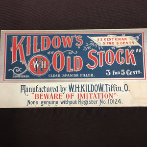Old Vintage, Kildow's Old Stock CIGAR SIGN - TheBoxSF