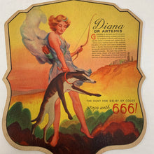 Load image into Gallery viewer, 1930's Diana or Artemis 666 Pharmaceutical Fan