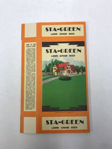 Vintage Sta-Green Grass Seed Cardboard Packaging (No Seeds Included)