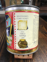 Load image into Gallery viewer, Vintage Bradshaw's Clover Blossom Honey Tin Can Package - TheBoxSF
