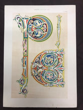 Load image into Gallery viewer, Beautiful Chromolithograph Book Plate Illuminated Letters About 100 Years Old - Plate Number 32
