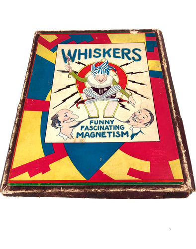 1920's WHISKERS: Funny, Fascinating Magnetism Magnetic Hair Game, Wooly Willy Style || Broadfield Toy Co., Inc.