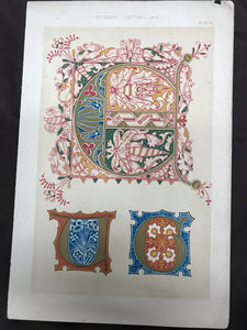 Beautiful Chromolithograph Book Plate Illuminated Letters About 150 Years Old - Plate Number 72