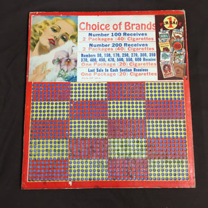 Vintage Choice of Brands CIGARETTES Punch Board, Lottery, Kool, Camel