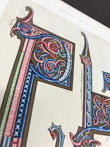 Bookplate featuring illuminated letters - Closeup