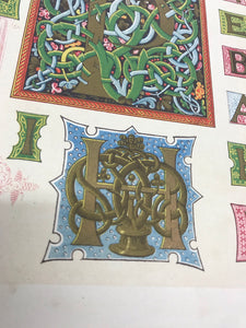 Closeup of bookplate featuring illuminated letters
