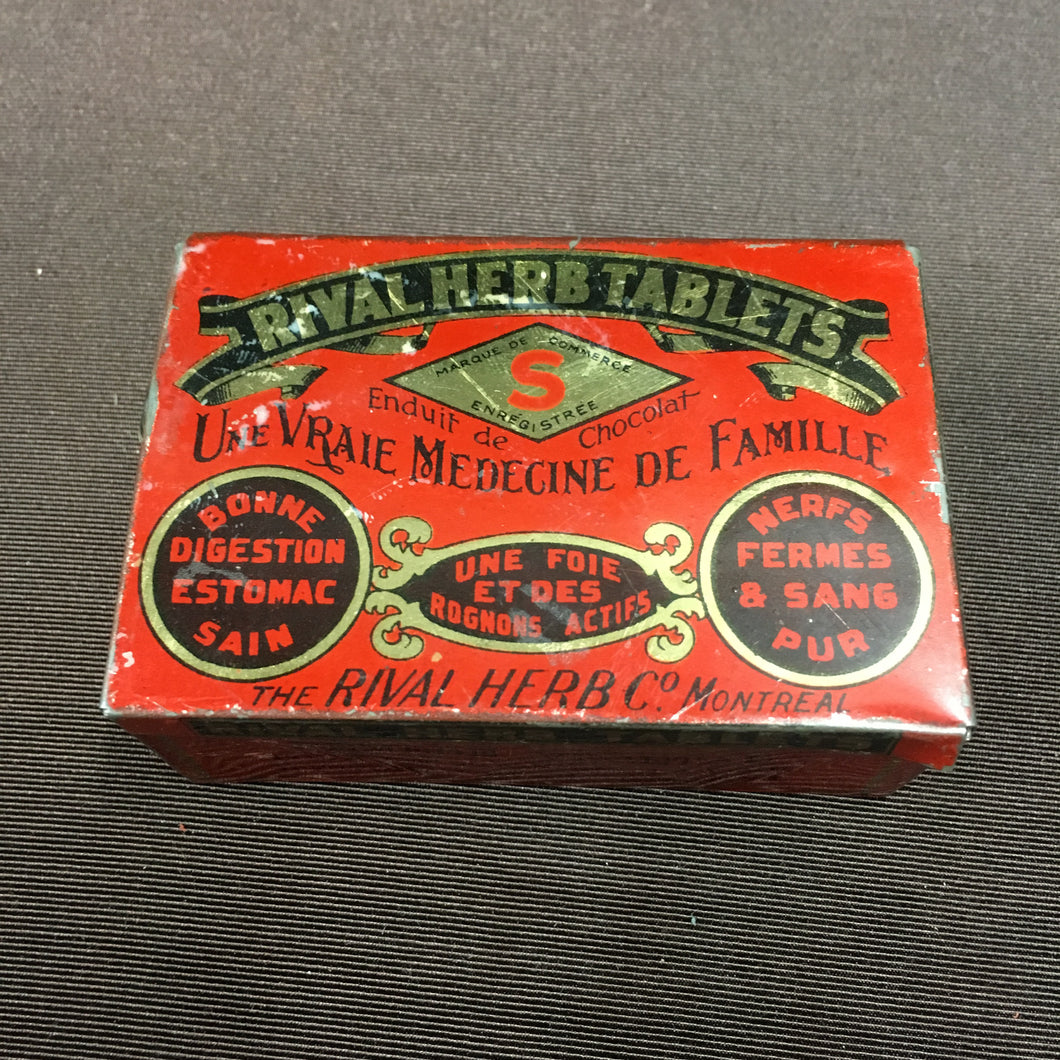 Old Vintage, Rival HERB TABLETS TIN, Medicine for Family - TheBoxSF