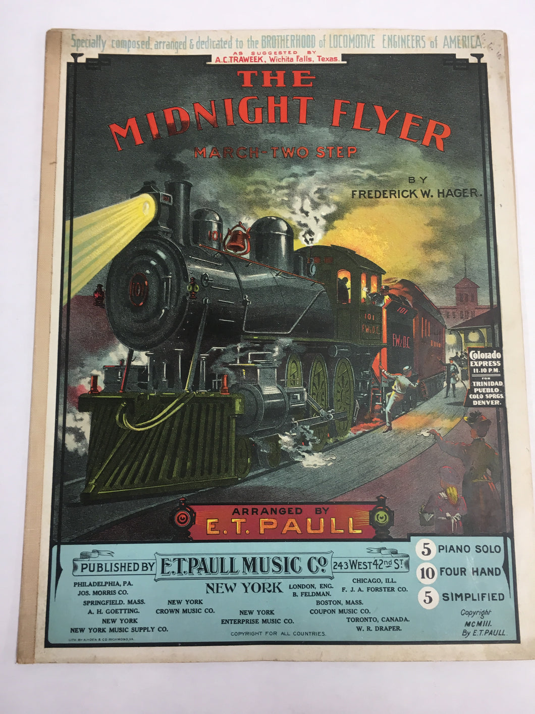 Old Sheet Music, The MIDNIGHT FLYER March Two Step, Colorado Express TRAIN
