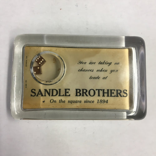 Old SANDLE BROTHERS Paper Weight, Office, Dice, Since 1894
