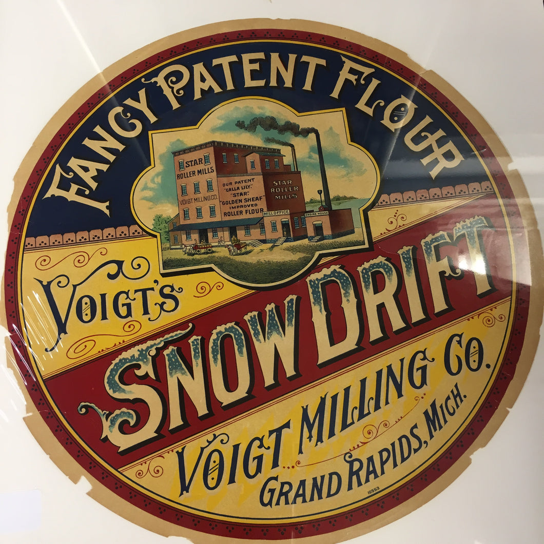 Old Fancy Patent FLOUR Barrel Label, SNOW DRIFT, Voigt Milling Co. Grand Rapids - TheBoxSF