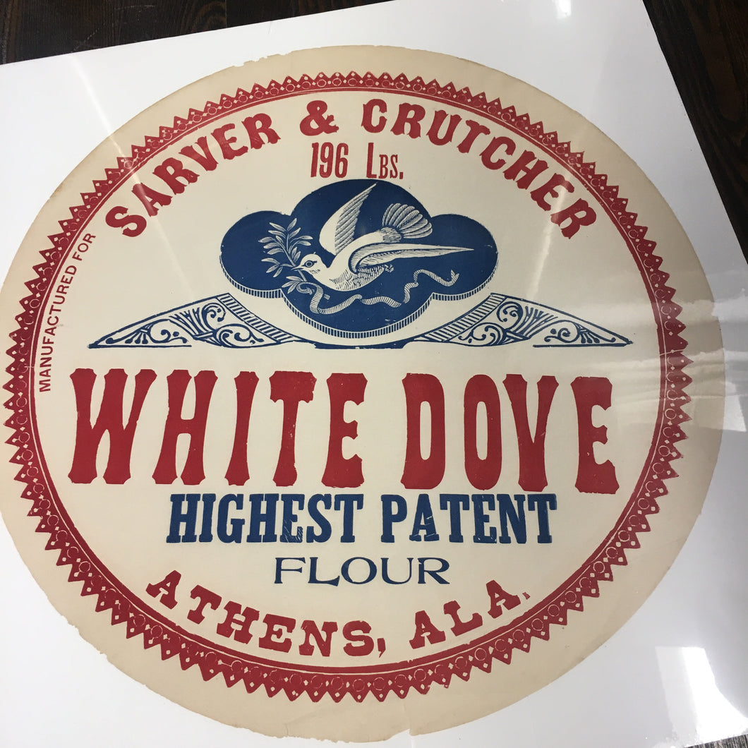Old Vintage, WHITE DOVE Patent FLOUR Barrel Label, Sarver & Crutcher - TheBoxSF