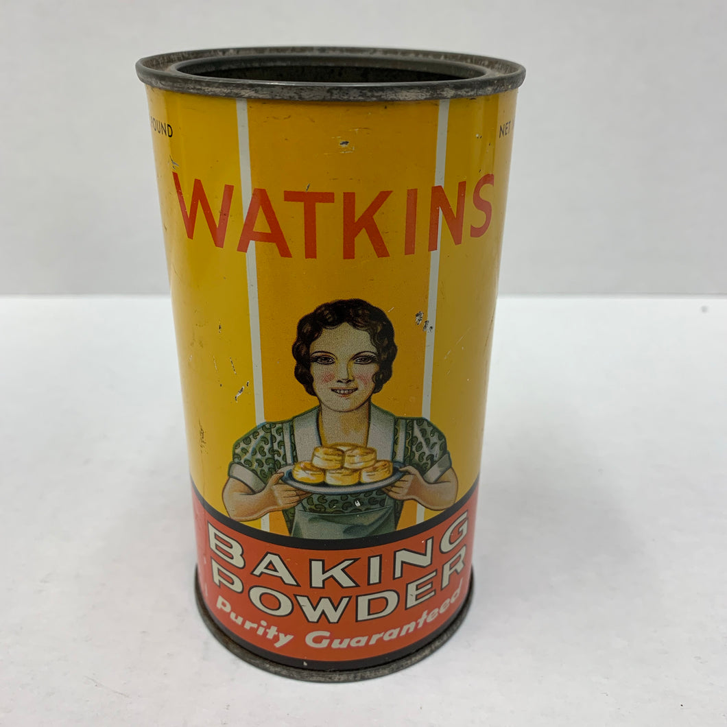 Old Watkins Pure Baking Powder Tin, Packaging