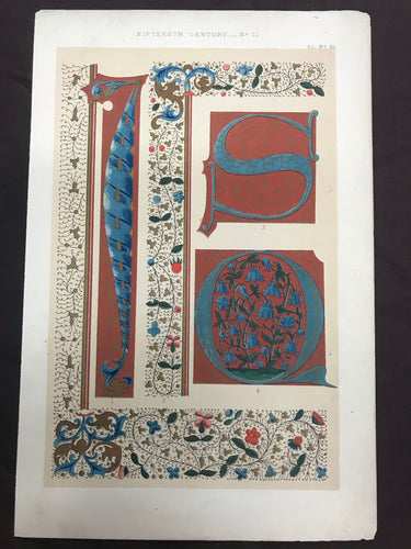 Beautiful Chromolithograph Book Plate Illuminated Letters About 150 Years Old - Plate Number 81