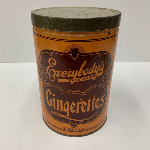 Old Everybody's Trade Mark GINGERETTES 1lb Tin, Tacoma Biscuit & Candy, Vintage