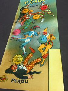 French LE CIRQUE BILLIARD Game Illustration, Poster || Vintage Circus