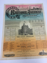 Load image into Gallery viewer, Rare Old Supplement BALTIMORE AMERICAN 1882 Calendar, Vintage