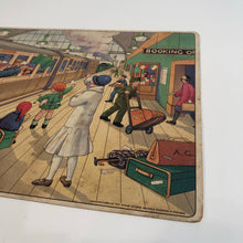 "Load image into Gallery viewer, 1920's Children's J.W. SPEAR TRAIN STATION GAME BOARD, ""Right Away,"" Railroad"