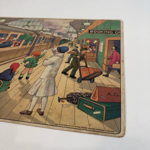 "1920's Children's J.W. SPEAR TRAIN STATION GAME BOARD, ""Right Away,"" Railroad"