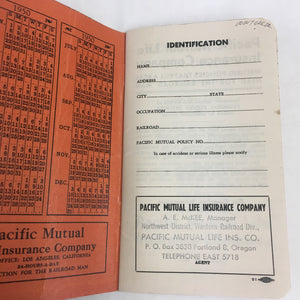 Old Unused RAILROAD TIME BOOK, Train, Life Insurance