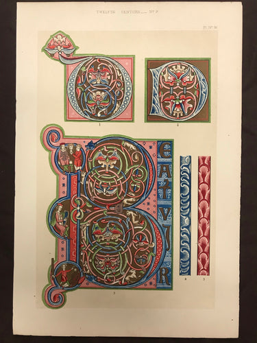 Beautiful Chromolithograph Book Plate Illuminated Letters About 125 Years Old - Plate Number 36