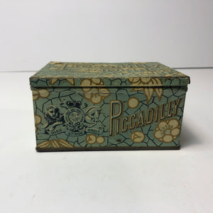 Closed Picadilly Tobacco tin showing graphics/ design