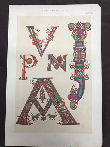 Beautiful Chromolithograph Book Plate Illuminated Letters About 150 Years Old - Plate Number 18