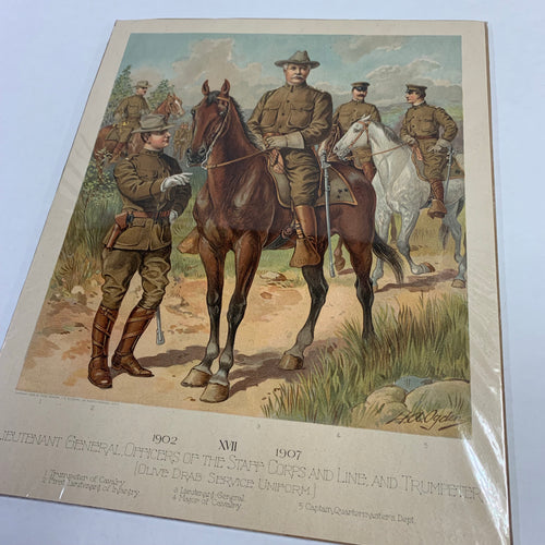 Vintage Lieutenant General Officers of the Staff Corps, 1902 XVII 1907, Man on Horse Lithograph