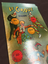 Load image into Gallery viewer, French LE CIRQUE BILLIARD Game Illustration, Poster || Vintage Circus