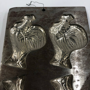 Vintage Metal Chocolate Mold, Chicken Form