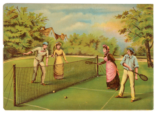 Victorian Tennis Game Lithographic Print