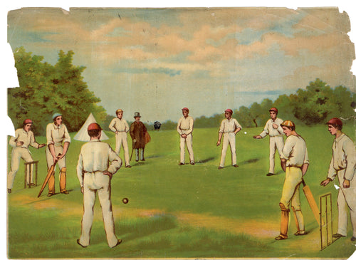 Victorian Cricket Game Lithographic Print