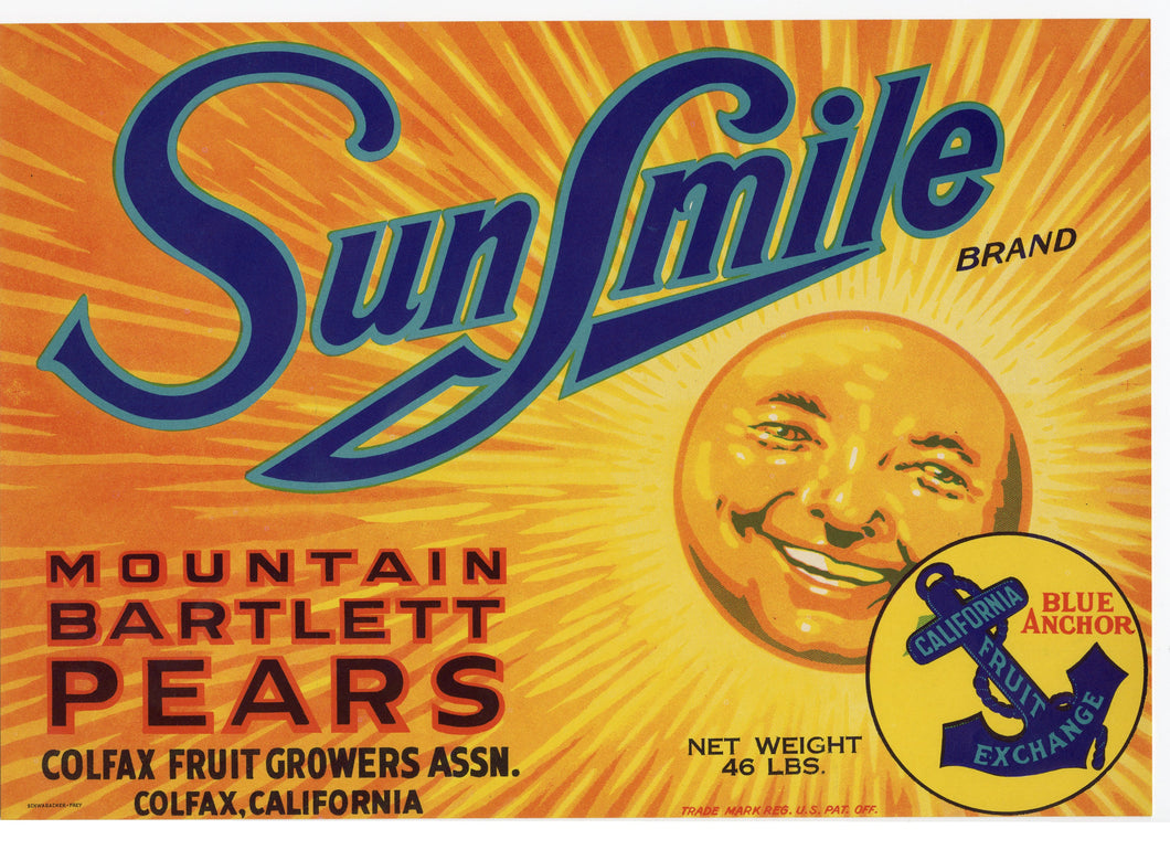 1930's SUN SMILE Mountain Bartlett PEARS FRUIT Label, Colfax, California