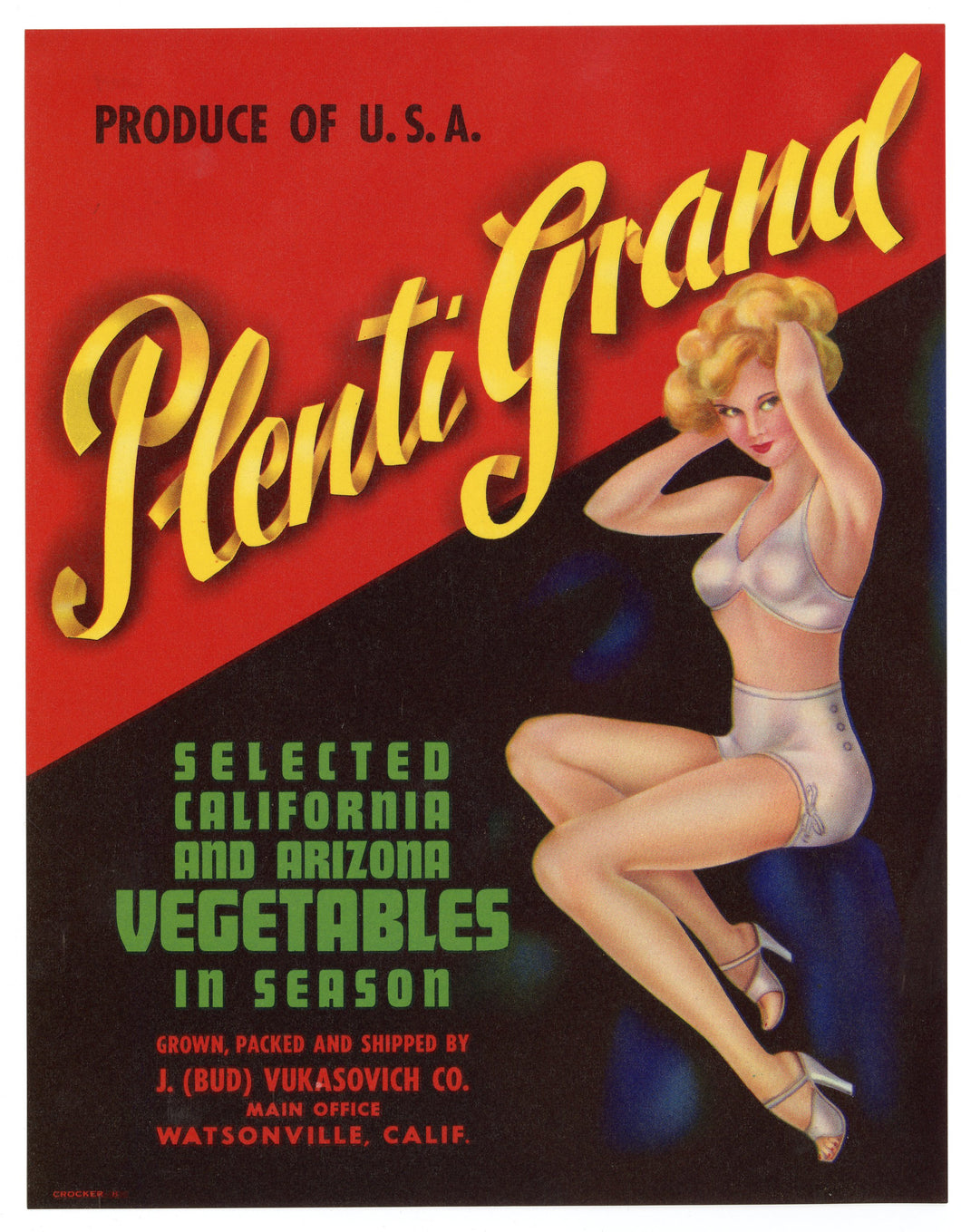 PLENTI GRAND Selected California & Arizona VEGETABLE Crate Label, Watsonville, California, Lovely Lady