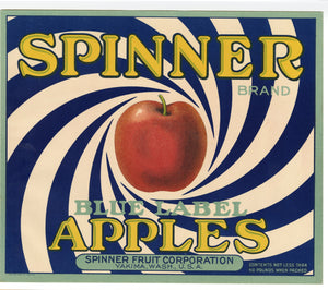 Vintage, Unused SPINNER Brand Apple Fruit Crate Label || Yakima, Washington