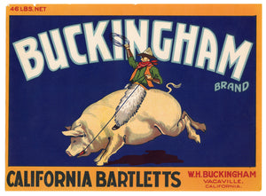 BUCKINGHAM BRAND California Bartlett PEARS Crate Label, Vacaville, California, Rodeo Pig