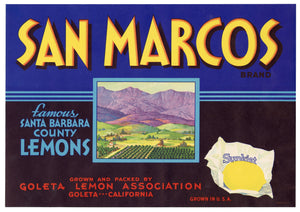 Vintage, Unused SAN MARCOS Lemon Fruit Crate Label || Goleta, Ca.