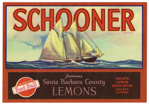 Vintage, Unused SCHOONER Brand Lemon Fruit Label || Goleta, Ca.