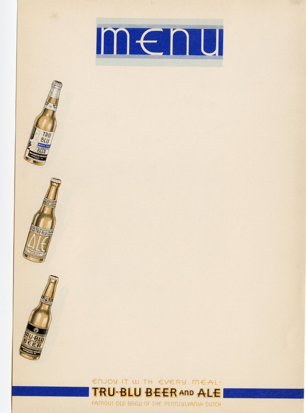 Art Deco TRU-BLU Beer and Ale Menu Blank Paper, Pennsylvania Dutch