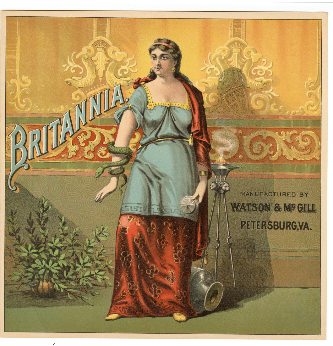 BRITANNIA TOBACCO Caddy Label, WATSON & McGill, Old, Vintage - TheBoxSF